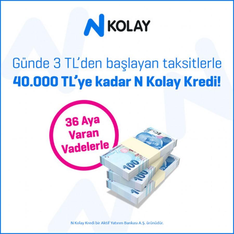 Günde 3 TL'den başlayan taksitler ve 36 aya varan vadelerle kredi N Kolay!