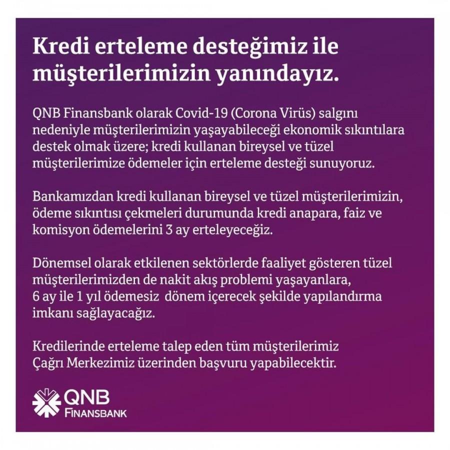 QNB Finansbank'tan kredi ödemelerine corona ertelemesi!